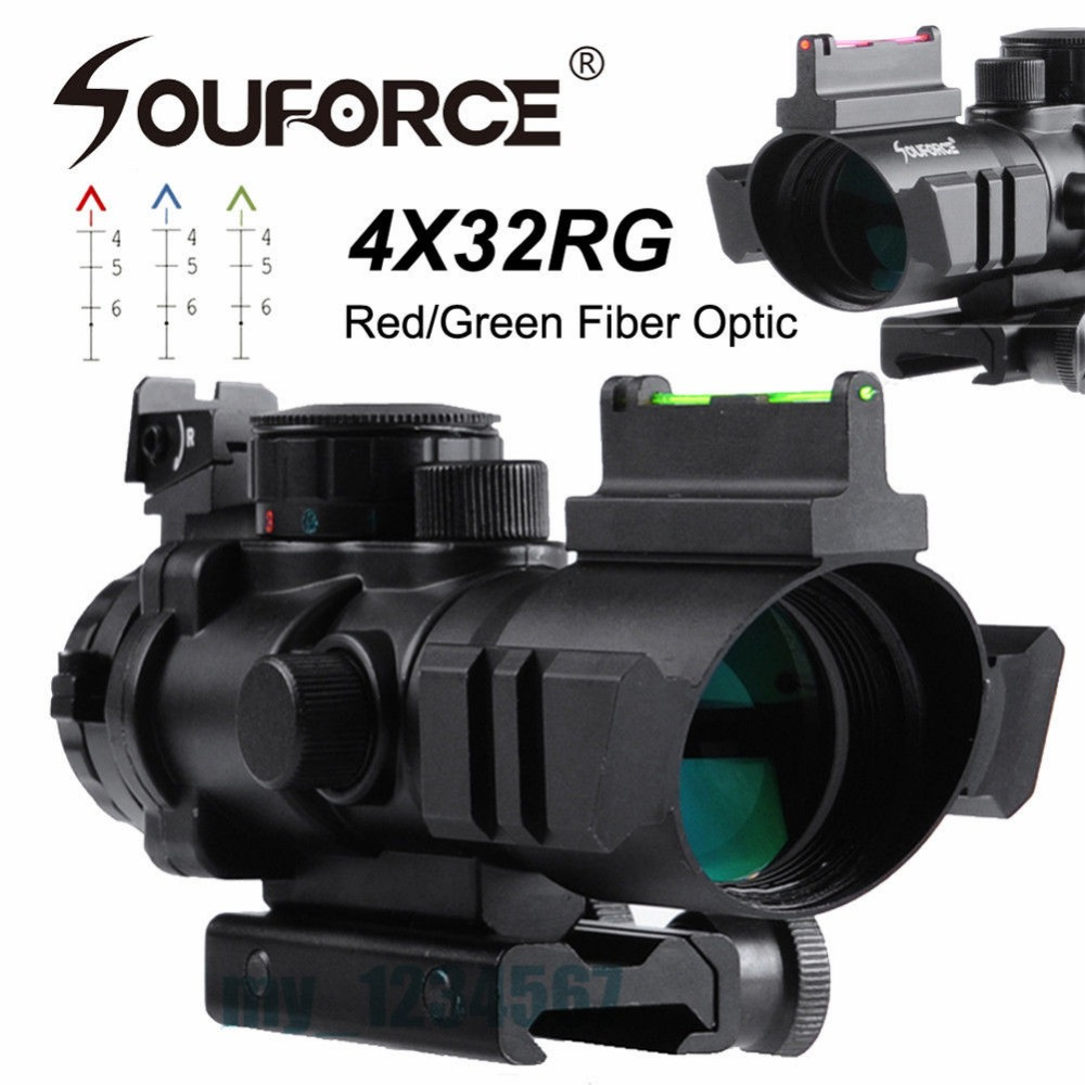 4X32 Rifle Scope with Red/Green Fiber Optic Sight Tri-illuminated Ballistic Reticle Riflescope for Hunting Rifle and Air Gun tactical 4x32 rifle scope w tri illuminated chevron reticle fiber optic sight scope rifle airsoft gun hunting airsoft
