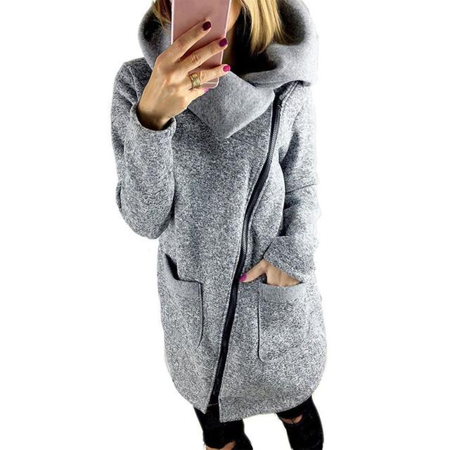2017 Outono Inverno Quente Zipper Up Com Capuz Mulheres Casual Longo luva de Slim Casaco Com Capuz Solto Cachecol Gola Jaquetas Outwear Feminino Dec7