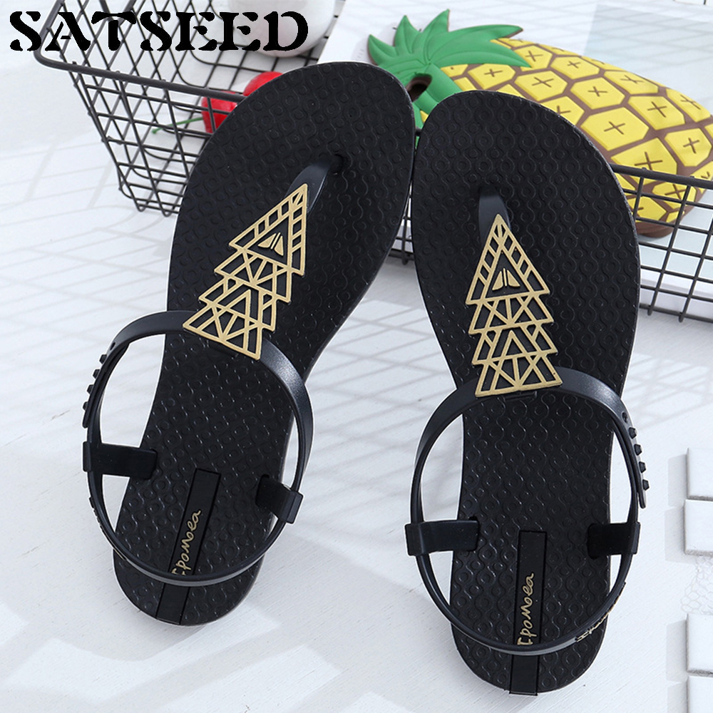 Fashion 2018 Sandals Women Slingback Shoes Women Black Shoes Open Toe Shoes Women Flat Sandals Ankle Wrap PVC New Casual lypo women sandals 2018 new flat bottom open toe bow candy color sandals casual crystal jelly shoes women breathable flat shoes