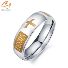 High quality large size 8mm 316 Titanium Steel 18K silver gold plated jesus cross Letter bible wedding band ring