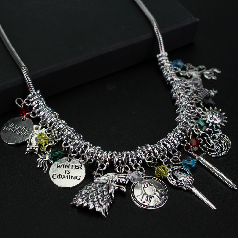 Movie Jewelry DIY Series Game of Thrones Charm Necklace Choker Vintage Fashion Metal Pendant Accessories For Fans Collection ...