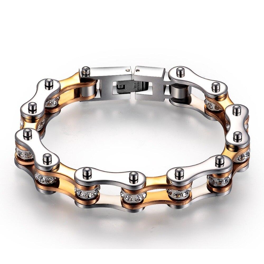 Moda de alta qualidade genuína 316L motocicleta aço inoxidável pulseiras cadeia brilhando contas de Cristal pulseiras 50g peso