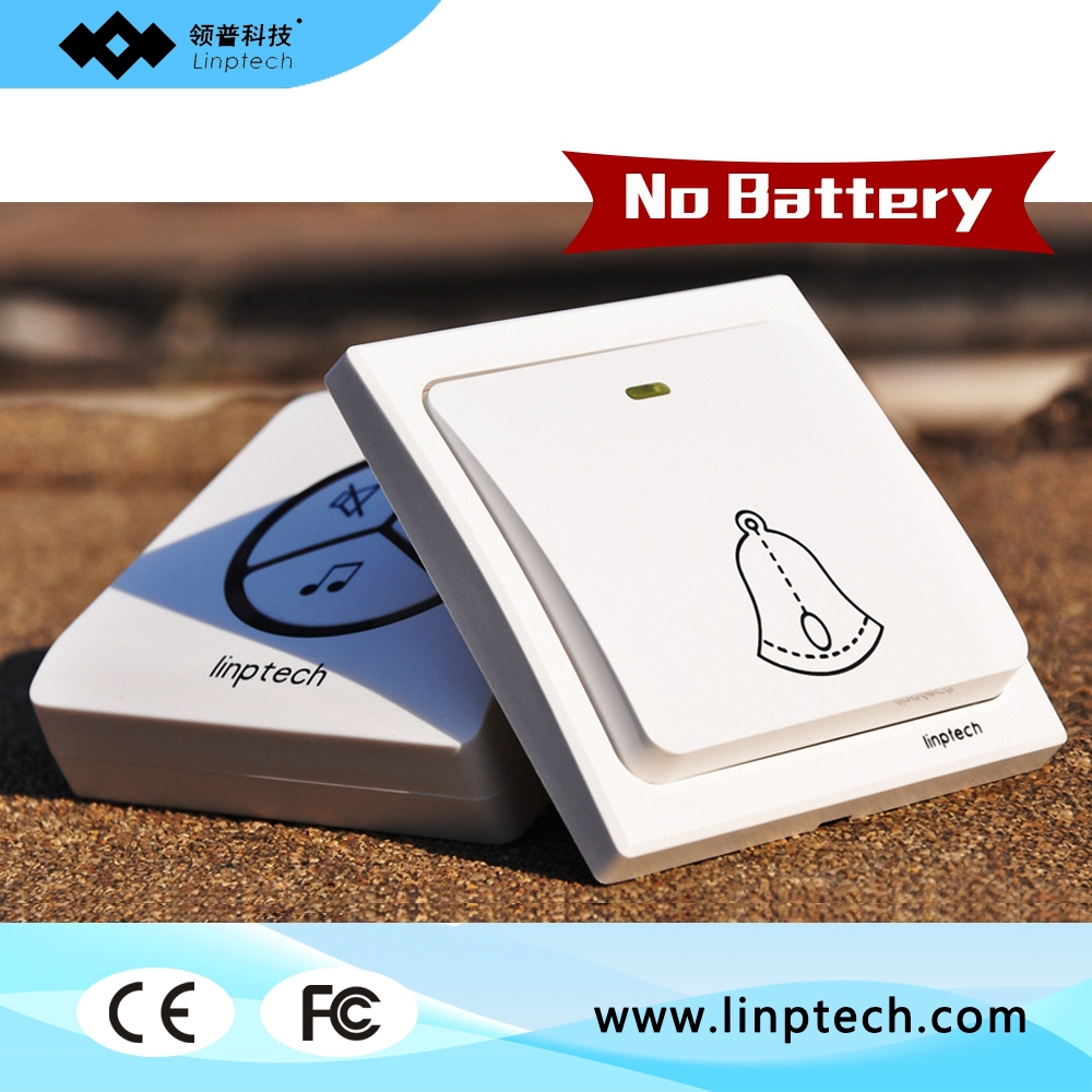 Linptech G1 1 doorbell button + 2 Remote Wireless door bells Smart mp3 ring doorbell electric waterproof home call ring bell wireless service call bell system popular in restaurant ce passed 433 92mhz full equipment watch pager 1 watch 7 call button