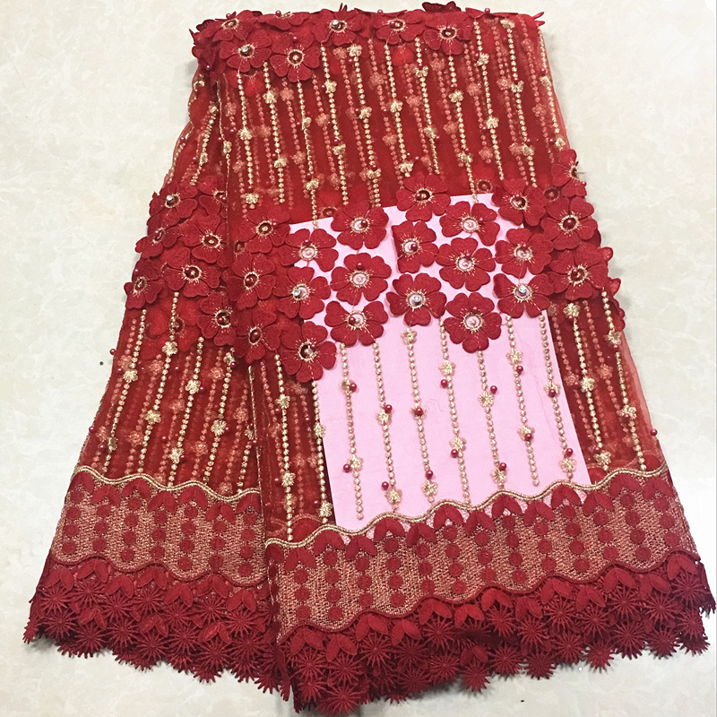 Wholesale Price red embroidered lace african cord Lace High quality african french mesh lace fabric with