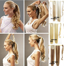 1pcs 21inch Clip In Ponytail drawstring blond pony tail Fake Hair Ponytail pad wig tress hairpiece Free Shipping