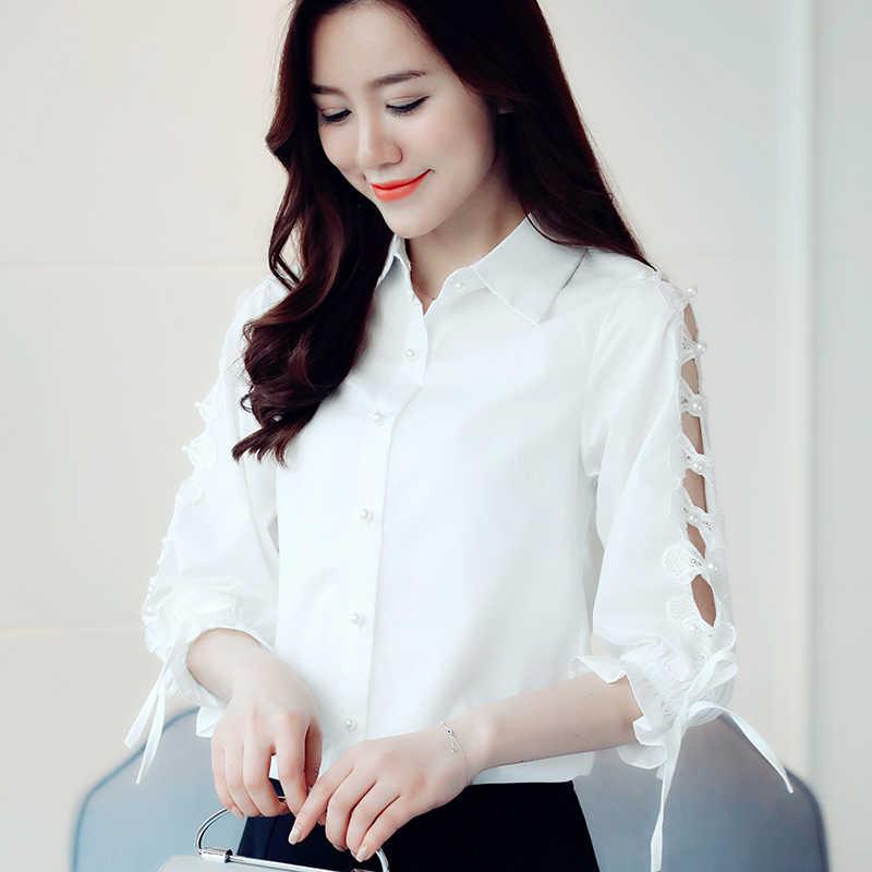 Весна осень Женская офисная блузка женская с длинным рукавом Тонкая Рубашка Формальная Блузка белый черный сплошной цвет новейшая 2019