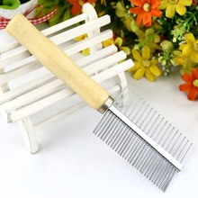 Stainless Steel Dog Comb Wood Handle Pet Grooming Comb for Dogs Sparse Dense Needles Dog Combs