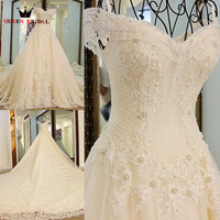 Luxurious Ball Gown Lace Crystal Flowers Wedding Dresses Real Picture Ivory Bridal Wedding Gown 2018 New
