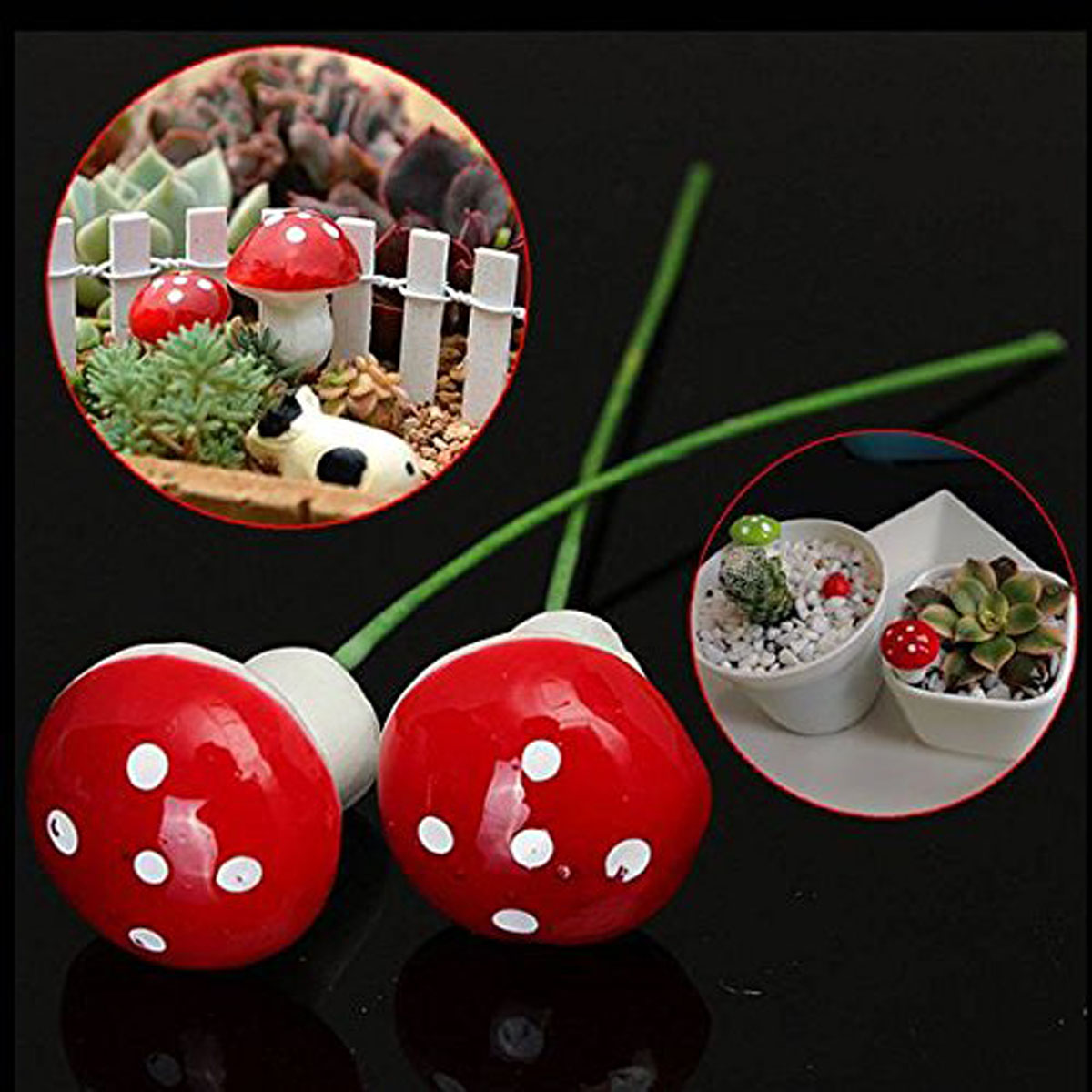10pcs Decorations Miniature Toadstool Dot Mushrooms Party Garden Ornament Decor Gift ...