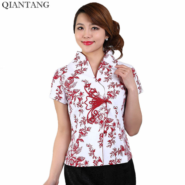 5970e6d40b Hot Sale Red Traditional Chinese Blouse Women Cotton Shirt Top V-Neck Short  Sleeves Clothing Size S M L XL XXL XXXL Mnys00B