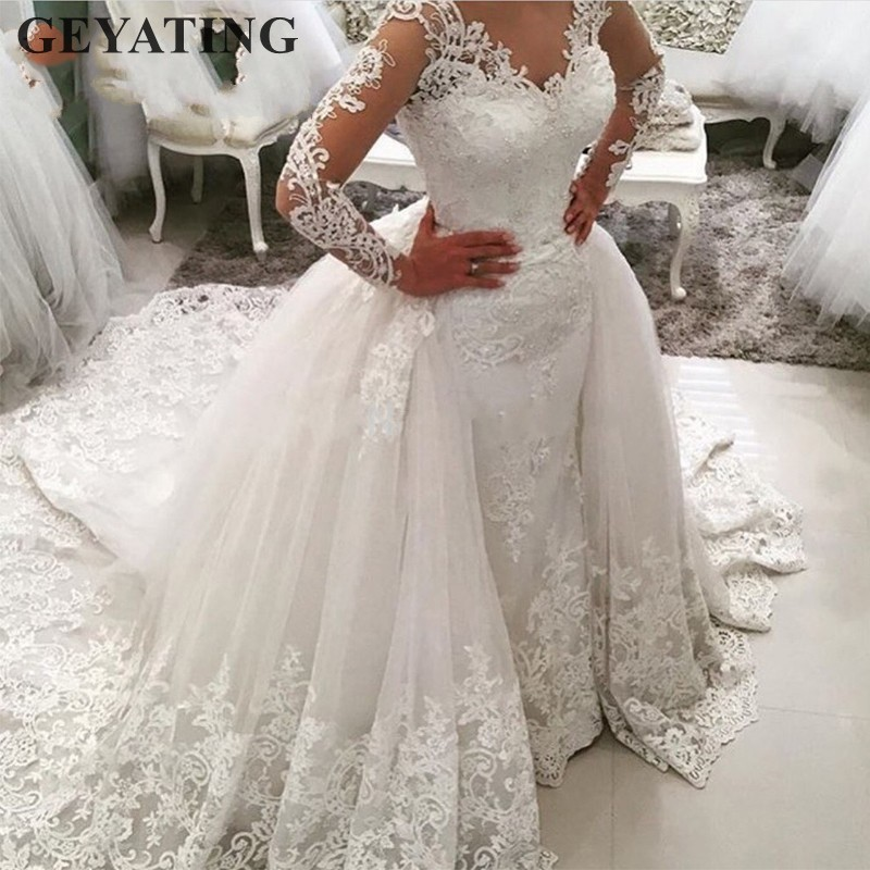 Luxury Lace Long Sleeve Mermaid Wedding Dress with Detachable Skirt  Backless Court Train Saudi Arabia Bridal Wedding Gowns Dubai 08a2679a1722