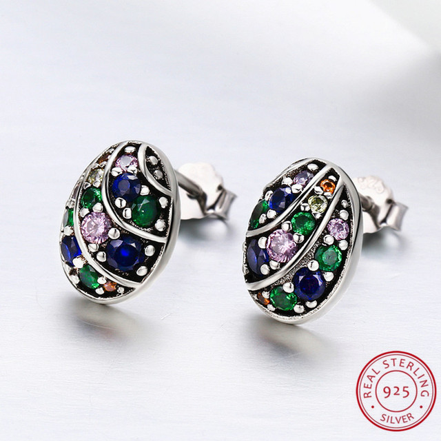 Easter Egg Earrings with Colorful CZ 100% 925 Sterling Silver Stud Earrings for Women boucles d'oreilles pour les femmes