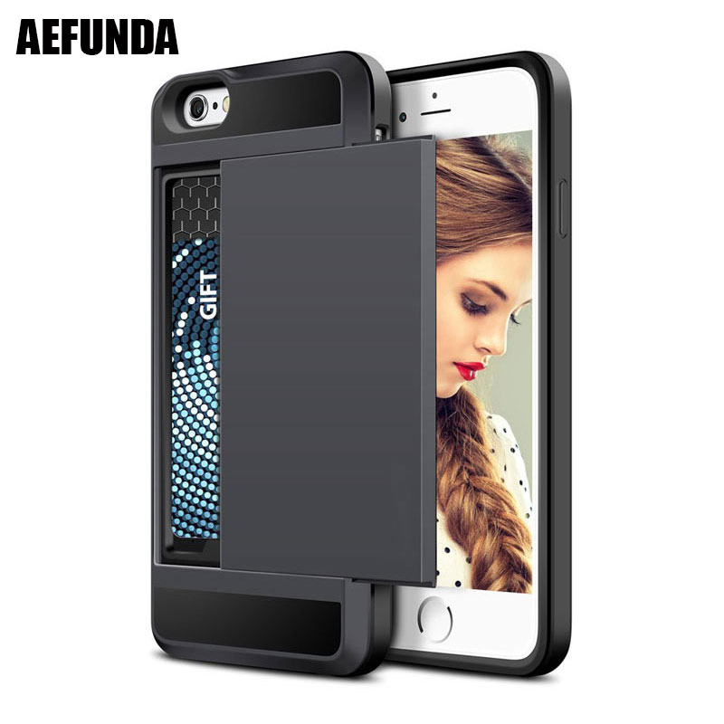 Slide Credit Card Slot Wallet Phone Case For iPhone 6 6S 7 8 Plus 5 5S SE Armor TPU Shockproof Capa For iPhone X XS Max XR Cover