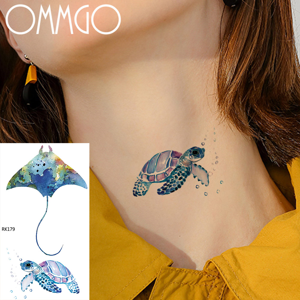 Us 043 Ommgo Watercolor Tattoo Sticker Turtle Devil Fish Marine Temporary Tattoos For Women Children Cartoon Fake Tatoos Body Art Kids In Temporary