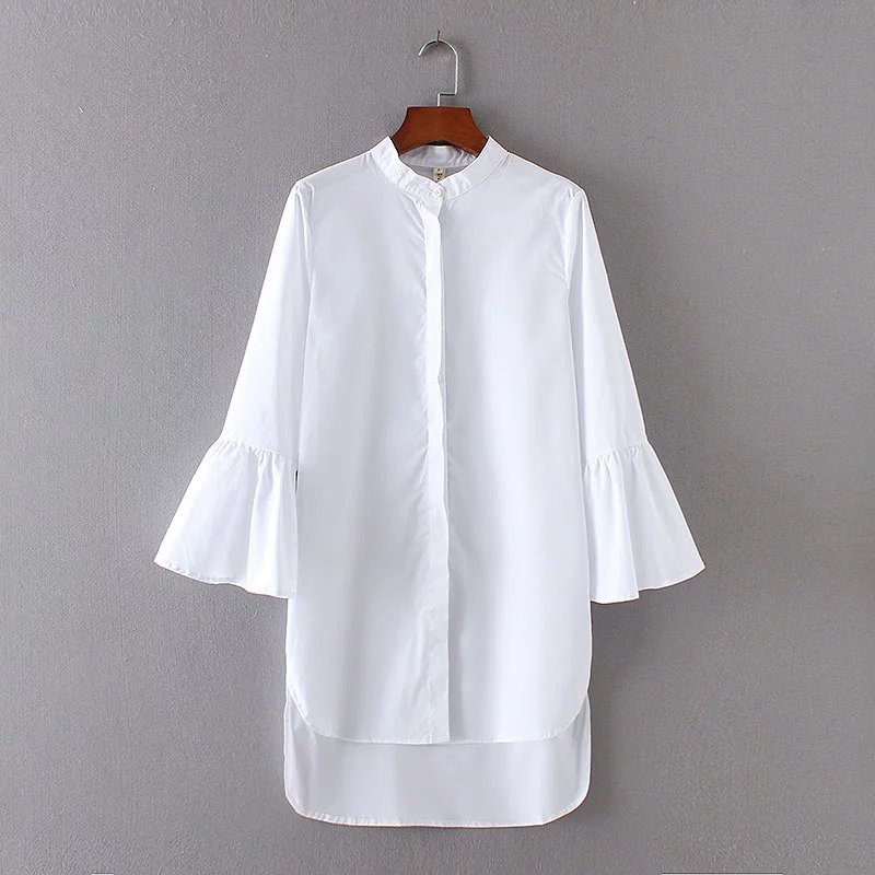 2017 Women Vintage Solid Color Flare Sleeve White Long Blouse Shirt Vestidos Casual Loose Blusas Brand Femininas Tops LS1464