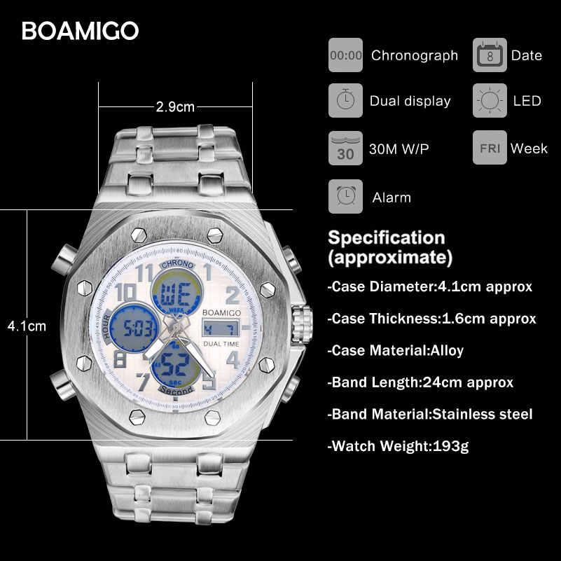 BOAMIGO zegarki marki mężczyźni sport zegarki podwójny wyświetlacz cyfrowe zegarki kwarcowe pasek ze stali nierdzewnej zegarki na rękę Relogio Masculino