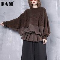 [EAM] 2018 New Autumn Winter Round Neck Long Sleeve Black Loose Knitting Stitch Hem Ruffles Sweatshirt Women Fashion Tide JI7660