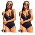 Nuevo Bikini Delgado Cordón de Las Mujeres Del Mono 2017 Sexy Sin Mangas Bodycon Mamelucos Del Mono traje de Baño Negro Mono Ropa de Playa