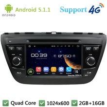 Quad Core 7″ 1024*600 2Din Android 5.1.1 Car DVD Multimedia Player Radio FM DAB+ 3G/4G WIFI GPS Map For Suzuki SX4 S-Cross 2014