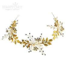 Himstory Gorgeous Handmade Gold Leaf Crystal Rhinestones Pearls  Wedding Hair Vine Headband Bridal Headpiece Hair accessories недорого