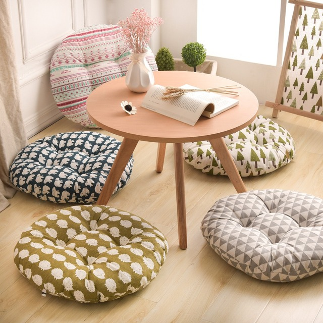 Classical Office Cushion Dining Chair Seat Cushion Sofa Throw Pillow Ethnic  Style Round Cotton Linen Tatami