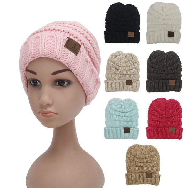 5c2df42b8d4 Women Men Winter Knitted Wool Cap Unisex Folds Casual CC labeling Beanies  Hat Solid Color Hip-Hop Skullies Beanie Hat Gorros