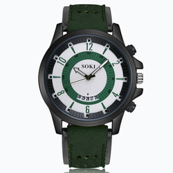 SOKI Luxury Watches Top Brand Fashion Casual Leather Quartz Wristwatch Sport Watch Male Military Date Clocks Relogio Masculino