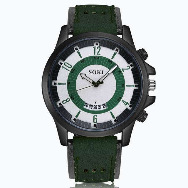 431b709bf34 SOKI Relógios Top Marca de Luxo Moda Casual Couro Quartz Relógio de Pulso  Relógio Do Esporte