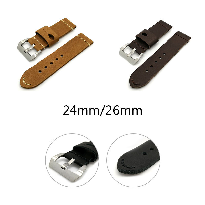 24/26MM Replacement Wristband With Pin Buckle For Men And Women Leather Watch Strap Fashion Watch Band Black/Light Brown/Brown | Watchbands