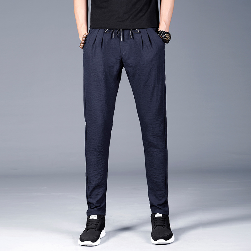 Summer thin men 39 s mid rise waistline casual pants Korean fashion straight type small feet sweatpants in Skinny Pants from Men 39 s Clothing