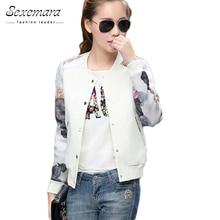 2017 women jacket  tops flower print girl  casual baseball sweatshirt button thin bomber long sleeves coat jackets