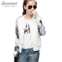 2015 Flower Print Plus Size Leisure Baseball Jacket Women Round Collar Button Thin Bomber Jacket Long