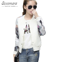 2015 Flower Print Plus Size Leisure Baseball Jacket Women Round Collar Button Thin Bomber Jacket Long