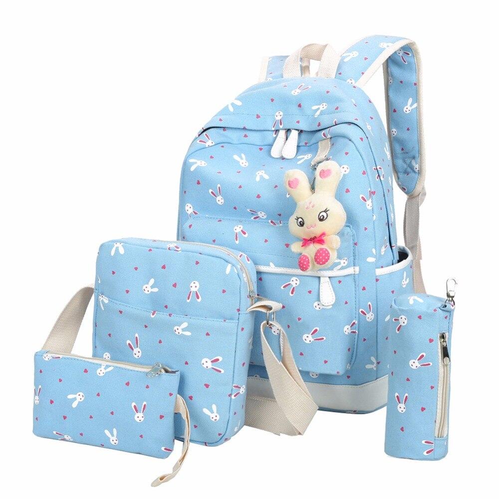 4pcs/sets Women Backpacks Teenage Girls Students Cartoon Rabbit Printing Canvas School Backpack Mochila Feminina Rucksack #2