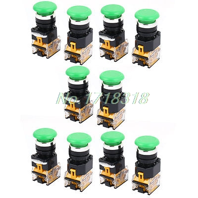 AC 660V 5A 4 Terminals NO/NC Momentary Green Push Button Switch 10PCS