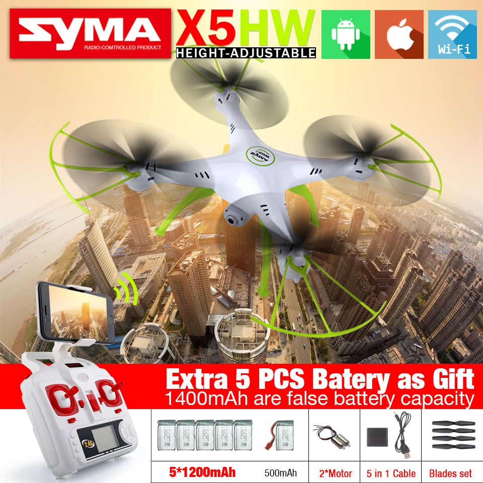 SYMA X5HW & X5HW-1 Hover FPV RC Quadcopter Drone with Wifi Camera 2.4G 6-Axis 2.4G 6-Axis RC Drones Toys with 5 Battery As Gift f04305 sim900 gprs gsm development board kit quad band module for diy rc quadcopter drone fpv