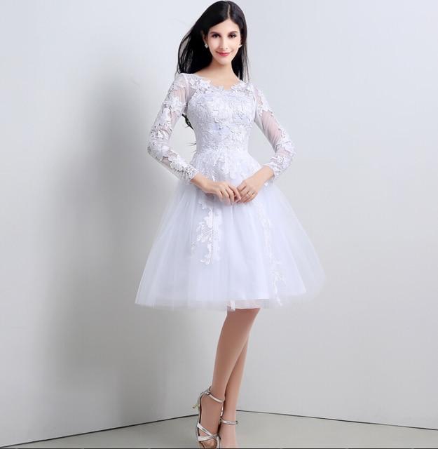 Casamento Lace Short Wedding Dress Long Sleeves Appliques White Black Ivory Vestido De Noiva 2016 Knee Length Bridal Dress Gown