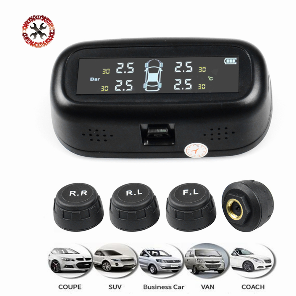 Universally For Cars Solar TPMS Car Tire Pressure Alarm Monitor System Display Temperature Warning Fuel Save With 4 Sensors