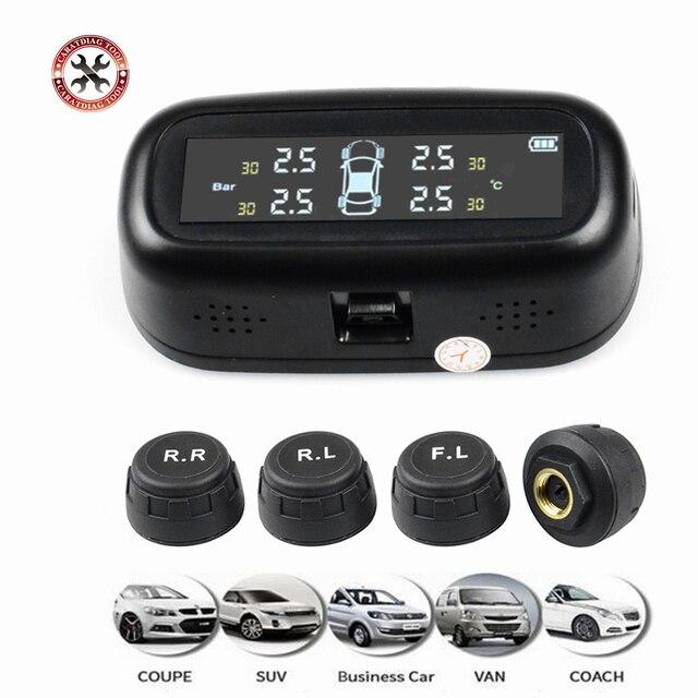 に普遍的にソーラー TPMS 車のタイヤ空気圧警報モニターシステムディスプレイ温度警告燃料で保存 4 センサー
