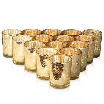 12 sztuk ins salon świecznik dekoracji kreatywny spot złoto szkło dekoracyjne świecznik ślubny puchar świeca jar making tanie i dobre opinie CHUANGGE candle cup glasses gold 5 2cmx6 5cm
