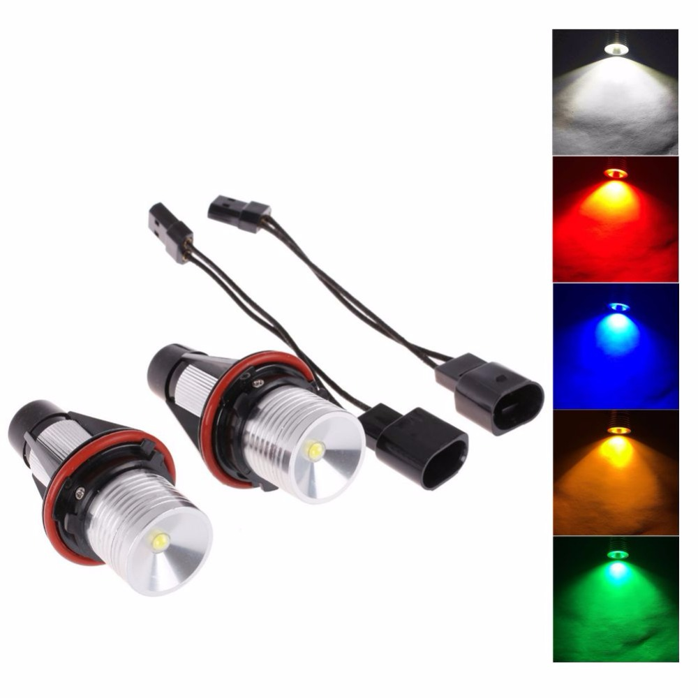 цены New Yard Night Light 5W LED Angel Eye Halo Ring Marker Light Bulb 10W for BMW E39 E53 E60 E61 E63 E64 2Pcs
