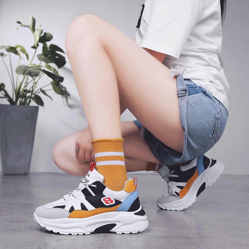 6f28956ce2 Women's Casual Shoes' Sneakers Dad Shoes Woman Platform Designer Leather  White Platform Sneakers Women Shoes