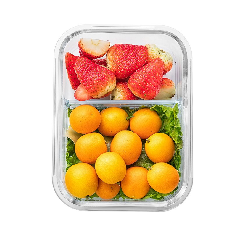 Microwavable Glass Lunch Box with Divider Lid Bag Meal Prep Glass Food Storage Containers with 2 Compartments Lunch Container in Lunch Boxes from Home Garden