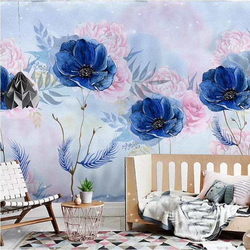 custom modern 3d photo non-woven wallpaper wall murals 3d wallpaper hand-painted flower floral wallpaper sofa wall decoration large murals non woven beauty flowers porch corridor sand background wallpaper 3 d wallpaper papeles pintados