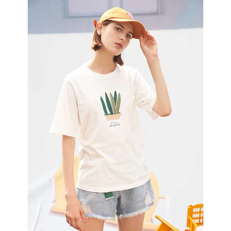 Toyouth kadın T-shirt harajuku baskılı beyaz kadın üstleri 2019 yaz kısa kollu pamuk Streetwear Tee gömlek Femme tshirt