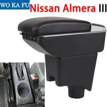 Для Nissan Almera III подлокотник коробка Универсальная автомобильная центральная консоль caja Модификация аксессуары двойной поднят с USB