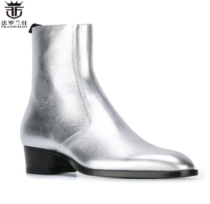 2018 FR.LANCELOT new design sliver leather pointed toe boots men cow leather chelsea boots british style fashion brand men boots new british style real top cow leather boots qshoes mens business dress casual fashion men personalized round toe boot y97 663