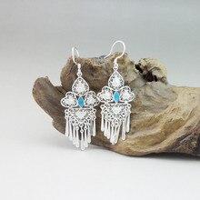 Cloisonne Enamel 999 Sterling Silver Tassel Earrings For Women Vintage Drop Fringe Luxury Jewelry Palace Trendy Accessories