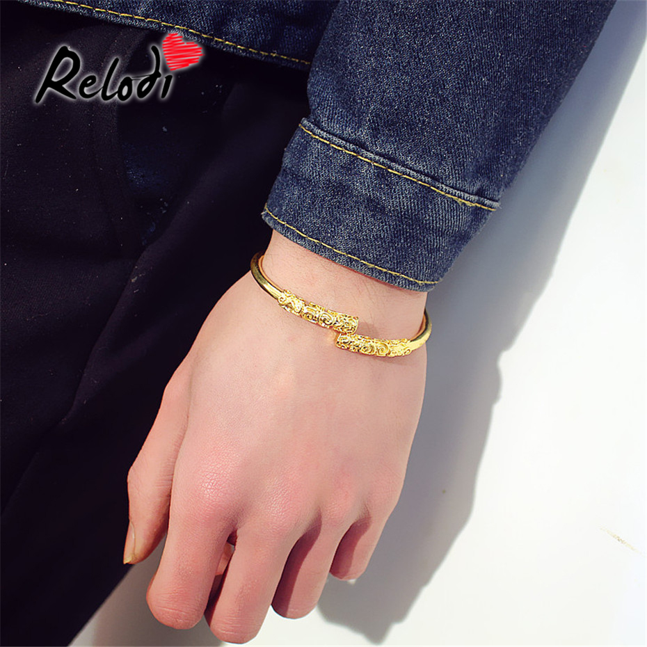 Bangles Relodi Retro Monkey King Bracelet Bangles For Lovers Gold Hoop Open Cuff Bangle For Women Men Valentines Day Gift Sp2553 Commodities Are Available Without Restriction