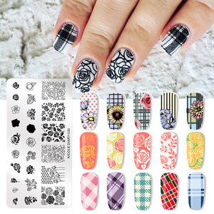 Image 1 - NICOLE DIARY Valentines Day Nail Stamp Plate Rectangle Nail Art Stamping Image Template DIY Nail Plate Geometric Print Stencil